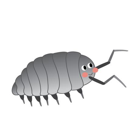 Isopod animal cartoon character. Isolated on white background. illustration. Illustration