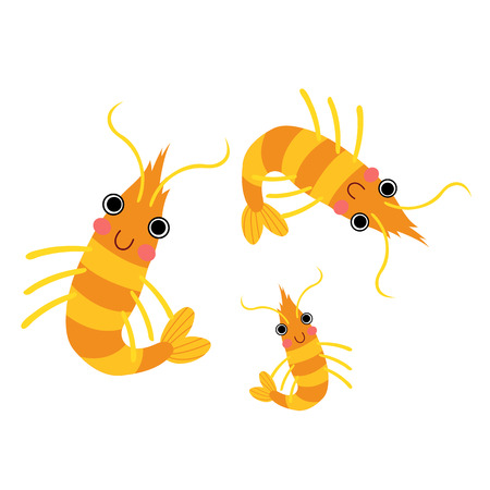 Krill animal cartoon character. Isolated on white background. illustration.