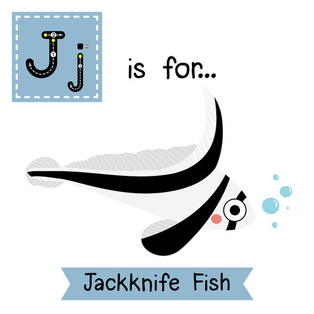 lanceolatus: J letter tracing. Jackknife Fish. Cute children zoo alphabet flash card. Funny cartoon animal. Kids abc education. Learning English vocabulary. illustration. Illustration