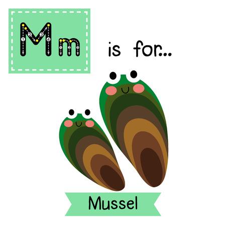 M 文字のトレース。ムール貝。かわいい子供動物園アルファベット フラッシュ カード。面白い漫画の動物。Abc 教育を子供たちには。英語の語彙を学  イラスト・ベクター素材