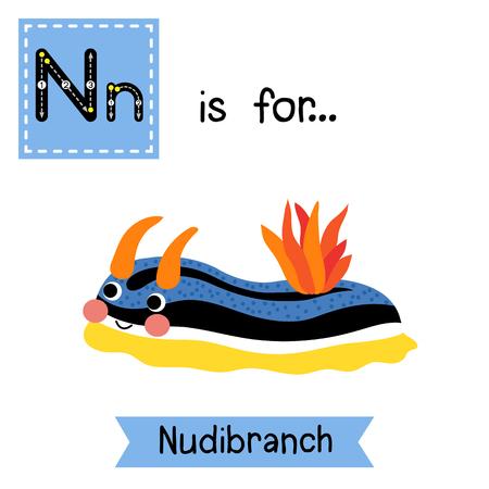 N 文字のトレース。カラフルなウミウシ。かわいい子供動物園アルファベット フラッシュ カード。面白い漫画の動物。Abc 教育を子供たちには。英語の語彙を学習します。 イラスト。