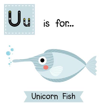 naso: U letter tracing. Unicorn Fish. Cute children zoo alphabet flash card. Funny cartoon animal. Kids abc education. Learning English vocabulary. illustration. Illustration