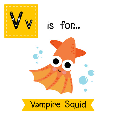 V letter tracing. Vampire Squid. Cute children zoo alphabet flash card. Funny cartoon animal. Kids abc education. Learning English vocabulary. illustration.
