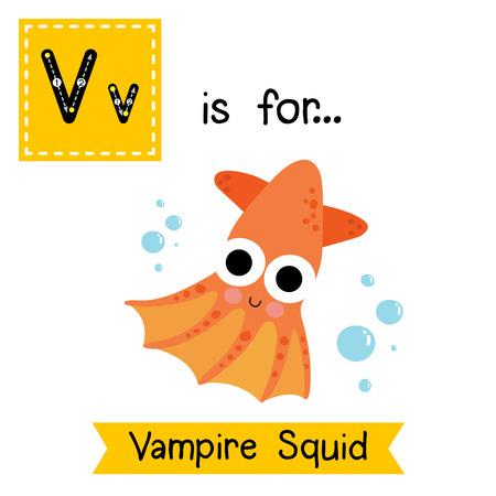 V letter tracing. Vampire Squid. Cute children zoo alphabet flash card. Funny cartoon animal. Kids abc education. Learning English vocabulary. illustration.