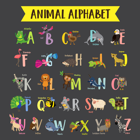 Cute colorful children zoo alphabet. Funny cartoon animal. Kids abc education. Learning English vocabulary. illustration.