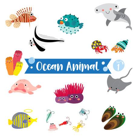 Ozean-Tier Karikatur auf weißem Hintergrund mit Tiernamen. Kugelfisch. Hammerhai. Einsiedlerkrebs. Schwamm. Rotfeuerfisch. Klappmesser Fisch. Blobfisch. Kaiserfisch. Manta. Muschel. Zooplankton. Red Waratah Anemone.
