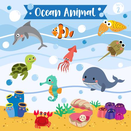 Ocean Animal cartoon underwater background. Turtle. Whale. Squid. Crab. Dolphin. Oyster. Clownfish. Barnacle. Cuttlefish. Sea Squirt. Horseshoe Crab. Seahorse. Vektoros illusztráció