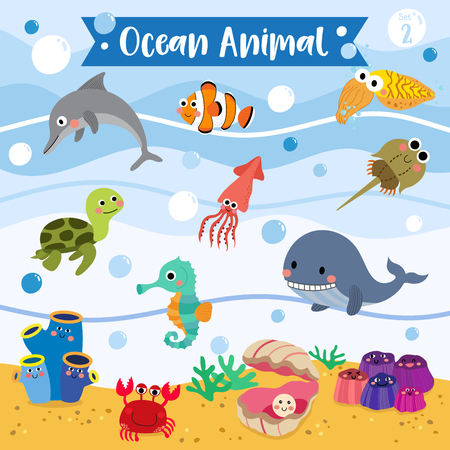 Ocean Animal cartoon underwater background. Turtle. Whale. Squid. Crab. Dolphin. Oyster. Clownfish. Barnacle. Cuttlefish. Sea Squirt. Horseshoe Crab. Seahorse. Illustration