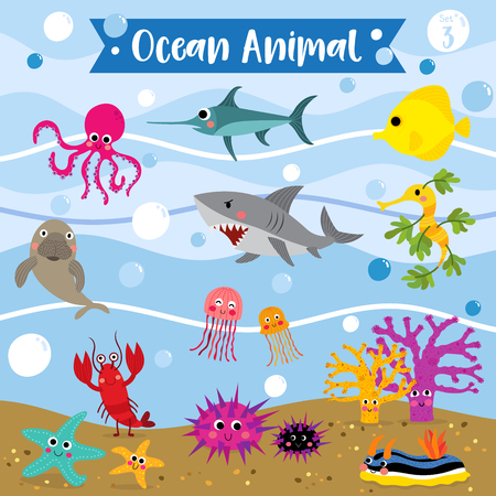Ocean Animal cartoon underwater background. Lobster. Starfish. Octopus. Shark. Jellyfish. Coral. Tang. Sea Dragon. Urchin. Swordfish. Nudibranch. Dugong.