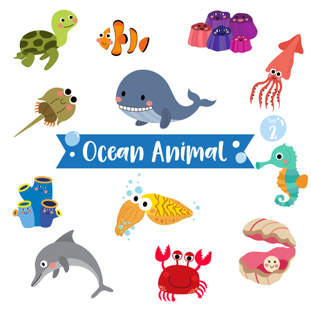 Ocean Animal cartoon on white background. Turtle. Whale. Squid. Crab. Dolphin. Oyster. Clownfish. Barnacle. Cuttlefish. Sea Squirt. Horseshoe Crab. Seahorse.