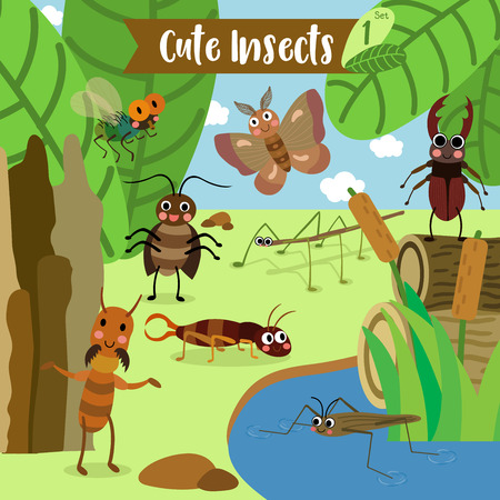 stick insect: Cute Insects Animal cartoon in the garden. Fly. Cockroach. Pond Skater. Stick Insect. Moth. Termite. Earwig. Stag Beetle. Beetle. illustration. Illustration
