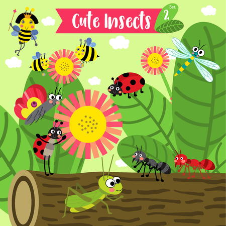 queen bee: Cute Insects Animal cartoon in the garden. Bee. Ant. Ladybird. Ladybug. Butterfly. Grasshopper. Dragonfly. Queen Bee. Illustration