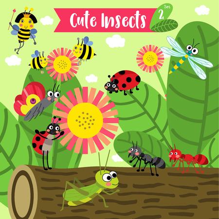 abeja reina: Linda de la historieta Insectos Animales en el jardín. Abeja. Hormiga. Mariquita. Mariquita. Mariposa. Saltamontes. Libélula. Abeja reina.