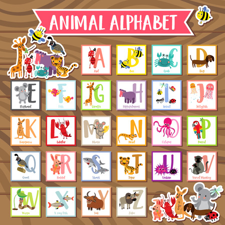 Cute colorful children zoo alphabet flash cards on wood background. Funny cartoon animal. Kids abc education. Learning English vocabulary. illustration.