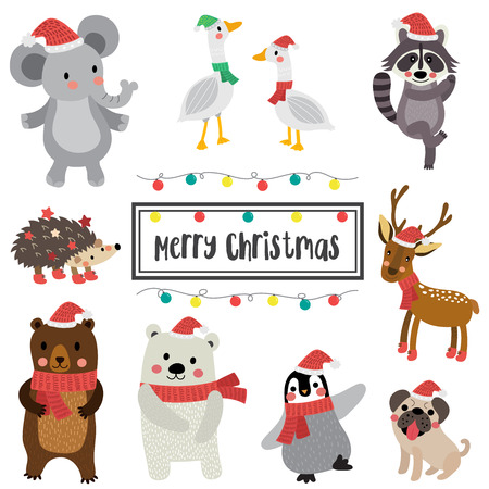 Cute Happy Animals merry christmas card design. Reindeer. Polar Bear. Geese. Penguin. Hedgehog. Bear. Raccoon. Pug dog. Elephant. Seasons greetings. Illustration. Ilustrace