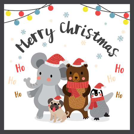 pug dog: Happy animals Merry christmas color light bulbs. Elephant. Penguin. Bear. Pug dog. Seasons greetings. Illustration. Illustration