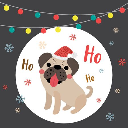 pug dog: Happy Pug dog Merry christmas color light bulbs. Seasons greetings. Illustration.