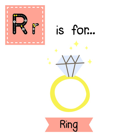 az: Cute children ABC alphabet R letter tracing flashcard of Ring for kids learning English vocabulary in Valentines Day theme.