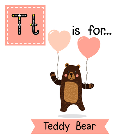 vocabulary: Cute children ABC alphabet T letter tracing flashcard of Teddy Bear for kids learning English vocabulary in Valentines Day theme.