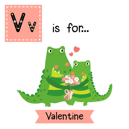 Cute children ABC alphabet V letter tracing flashcard of Valentine for kids learning English vocabulary in Valentines Day theme.