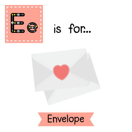 vocabulary: Cute children ABC alphabet E letter tracing flashcard of Envelope for kids learning English vocabulary in Valentines Day theme.