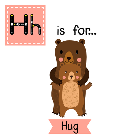 vocabulary: Cute children ABC alphabet H letter tracing flashcard of Hug for kids learning English vocabulary in Valentines Day theme.