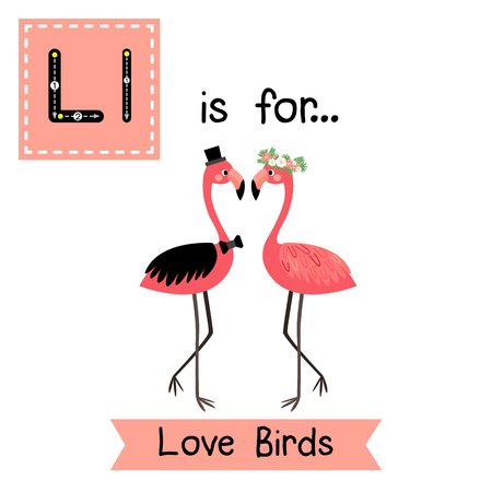 vocabulary: Cute children ABC alphabet L letter tracing flashcard of Love Birds for kids learning English vocabulary in Valentines Day theme.