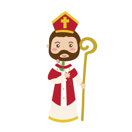 Saint Valentine cartoon character isolated on white background.