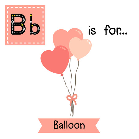 Cute children ABC alphabet B letter tracing flashcard of Balloon for kids learning English vocabulary in Valentines Day theme.