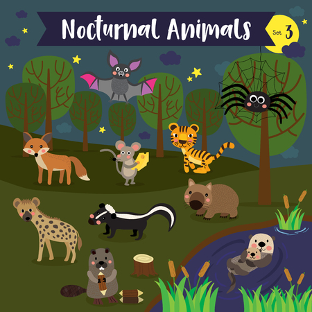 Nocturnal Animals cartoon with forest and pond background. Set 3.