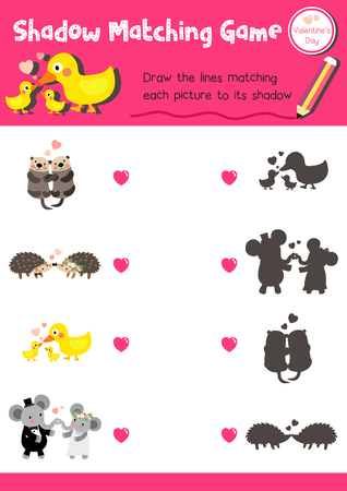 matching: Shadow matching game of animals for preschool kids activity worksheet in Valentines Day theme colorful printable version layout in A4.