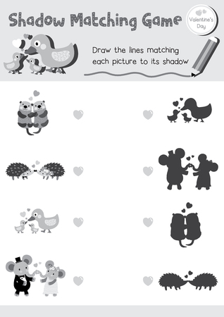 matching: Shadow matching game of animals for preschool kids activity worksheet in Valentines Day theme colorless printable version layout in A4.