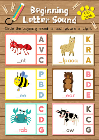 Clip cards matching game of beginning letter sound A, B, C for preschool kids activity worksheet in animals theme colorful printable version layout in A4. Vetores