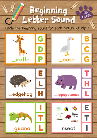 beginning: Clip cards matching game of beginning letter sound G, H, I for preschool kids activity worksheet in animals theme colorful printable version layout in A4.
