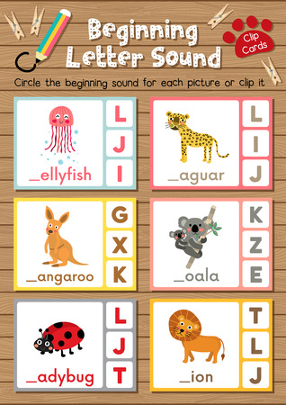 Clip cards matching game of beginning letter sound J, K, L for preschool kids activity worksheet in animals theme colorful printable version layout in A4. Vetores