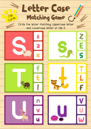 children s book: Clip cards matching game of letter case S, T, U for preschool kids activity worksheet in animals theme colorful printable version layout in A4.
