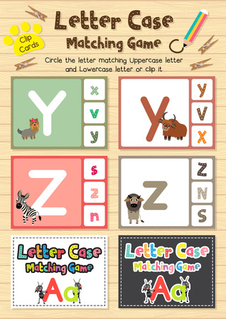 Clip cards matching game of letter case Y, Z for preschool kids activity worksheet in animals theme colorful printable version layout in A4.