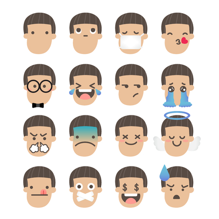 Set of boy face emoticons icon pack with various facial expressions in flat design on white background.