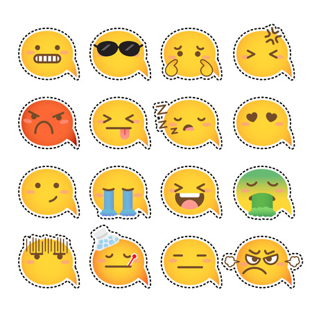 Set van gele gezicht emoticons pictogram pack met verschillende gezichtsuitdrukkingen in platte ontwerp op witte achtergrond. Vector Illustratie
