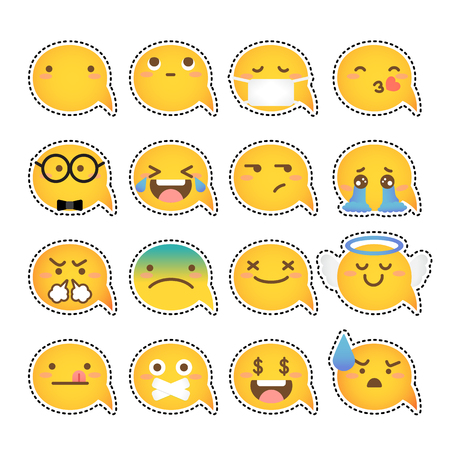 Set of yellow face emoticons icon pack with various facial expressions in flat design on white background. Illustration