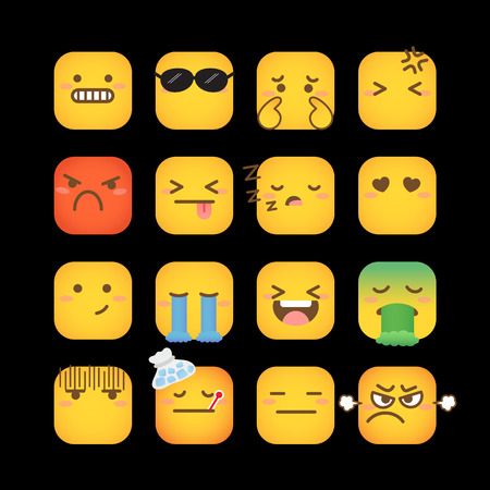 Set of yellow face emoticons icon pack with various facial expressions in flat design on black background.