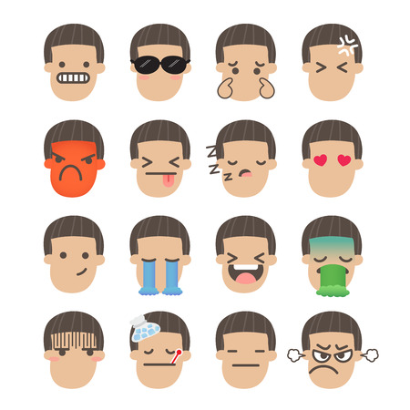 nauseous: Set of boy face emoticons icon pack with various facial expressions in flat design on white background.