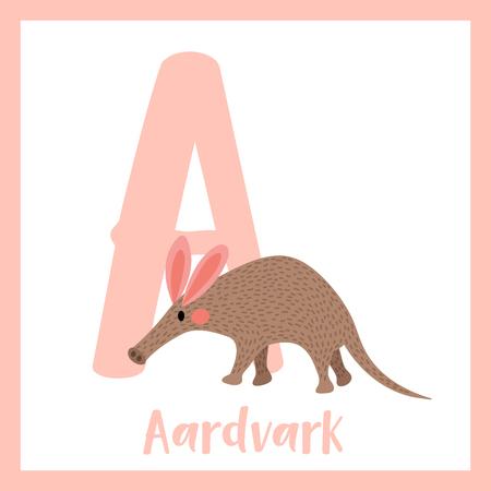 aardvark: A letter vocabulary. Walking Aardvark. Cute children ABC zoo alphabet flash card. Funny cartoon animal. Kids abc education. Learning English vocabulary. Vector illustration.