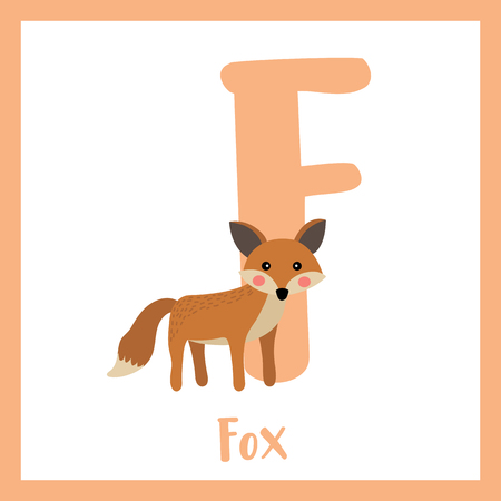 F letter vocabulary. Standing Fox. Cute children ABC zoo alphabet flash card. Funny cartoon animal. Kids abc education. Learning English vocabulary. Vector illustration.