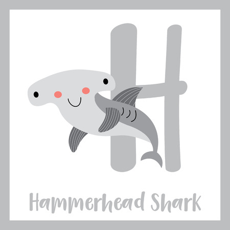 az: H letter vocabulary. Hammerhead Shark. Cute children ABC zoo alphabet flash card. Funny cartoon animal. Kids abc education. Learning English vocabulary. Vector illustration. Illustration