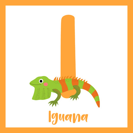 나는 편지 어휘. 이 구 아나 도마뱀 파충류입니다. 귀여운 어린이 ABC 동물원 알파벳 플래시 카드. 재미있는 만화 동물입니다. 키즈 abc 교육. 영어 어휘  일러스트