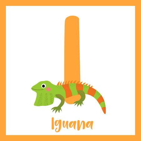 I letter vocabulary. Iguana lizard reptile. Cute children ABC zoo alphabet flash card. Funny cartoon animal. Kids abc education. Learning English vocabulary. Vector illustration.