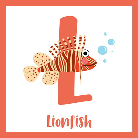 lionfish: L letter vocabulary. Lionfish. Cute children ABC zoo alphabet flash card. Funny cartoon animal. Kids abc education. Learning English vocabulary. Vector illustration.