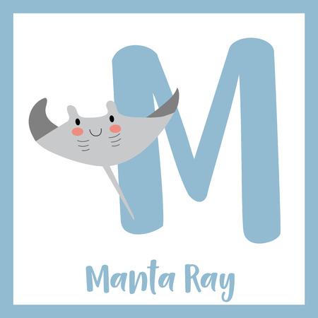 M letter vocabulary. Manta ray. Cute children ABC zoo alphabet flash card. Funny cartoon animal. Kids abc education. Learning English vocabulary. Vector illustration.