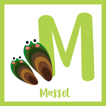 M letter vocabulary. Mussel. Cute children ABC zoo alphabet flash card. Funny cartoon animal. Kids abc education. Learning English vocabulary. Vector illustration.
